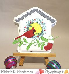 Christmas Bird, Christmas Stockings, Christmas Ornaments, Memory Box Cards, Easel Cards, Lawn Fawn, Bird Houses, Candy Cane, Grey Trim