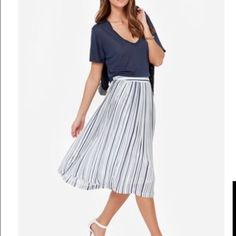 Pleated skirt Natural white and navy blue striped pleated skirt. J.O.A. Skirts Midi