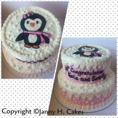 Penguin winter wonderland baby shower cake Www.facebook.com/jannyh.cakes