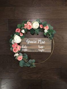 Hospital door hanger, birth announcement sign, nursery name sign, modern wreath, nursery decor, baby shower gift #babyshower #nurserydecorgirl #babysign