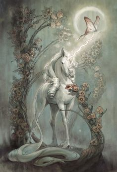 """samantha-sno-white:The Last Unicorn """"The unicorn""""was a marvelous beast, shining with honor, wisdom and strength. Just to see him strengthened the soul. The Unicorn in the Maze Fantasy Magic, Dark Fantasy Art, Fantasy Artwork, Fantasy World, Final Fantasy, Unicorn And Fairies, Unicorn Art, Unicorn Fantasy, White Unicorn"""