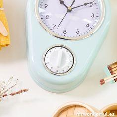 Reloj de cocina con temporizador de color azul. #mrwonderfulshop #clock #timer #blue