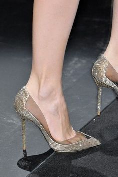 gorgeous heels Armani Privé gold, silver, glitter perfection