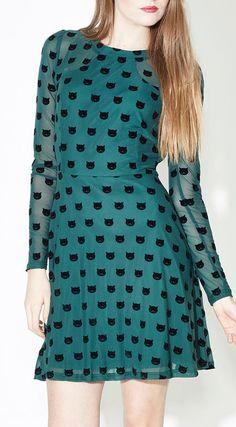 Sugarhill Boutique Green Top Cat Fit & Flare Dress #dress #cat