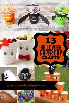 Looking for inexpensive Halloween crafts? You'll find lots of kids' party craft ideas in this listing of Paper Cup Halloween Decorations. Halloween Cups, Halloween Math, Halloween Crafts For Kids, Halloween Activities, Easy Halloween, Halloween Decorations, Classroom Activities, Healthy Halloween, Halloween Projects