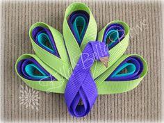 Peacock Ribbon Sculpture Hair Clip choice of 1 by EllaBellaBowsWI