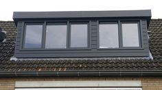 Dakkapel Leusden keralit zijwanden en front. Antraciet grijs dakkapel