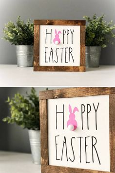 I love this farmhouse style Rae Dunn inspired wooden Easter sign. The little bunny is so adorable. #ad #easter #sign #farmhouse #raedunn #spring #wooden #homedecor #holidaydecor #eastercraftsdiy