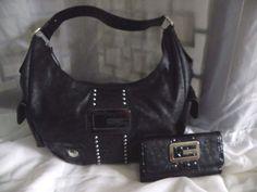 d97edf2294 GUESS Tate Black Faux Ostrich Embossed Crocodile Hobo Shoulder Bag   Wallet…