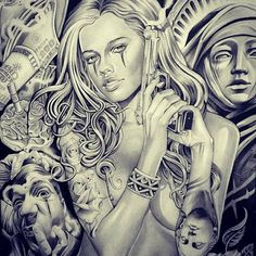 Lettrage Chicano, Chicano Art Tattoos, Chicano Drawings, Gangsta Tattoos, Tattoos Skull, Girl Tattoos, Chicanas Tattoo, Clown Tattoo, Money Tattoo