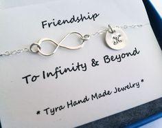 Infinity necklace with initial charm,Sideways,Initial necklace,Friendship,Personalized initial,Everyday,horizontal cross,. $39.50, via Etsy.