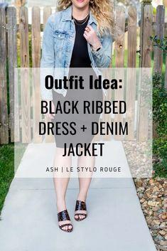 Black Ribbed Dress + Denim Jacket. | Le Stylo Rouge