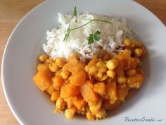Curry de garbanzos y calabaza