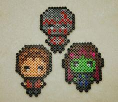 Guardians of the Galaxy Chibi Perler Bead designs by SuperOnigiriDesigns