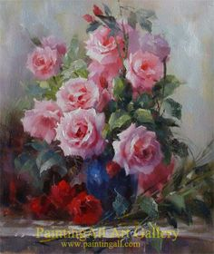 Floral Still Life: Roses in a Blue Vase