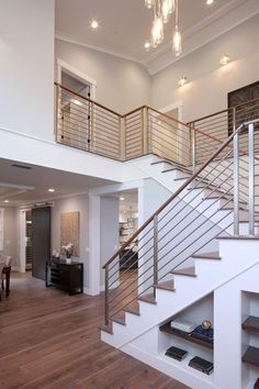 Contemporary Staircase with Modern Interior Railing, High ceiling, Metal staircase, Hardwood floors, Crown molding Modern Stair Railing, Stair Handrail, Staircase Railings, Modern Stairs, Staircase Design, Stairways, Banisters, Staircase Contemporary, Wood Railing