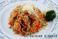 Recette Poêlée de courge au quinoa - La cuisine familiale : Un plat, Une recette Lard, Grains, Gluten, Rice, Cooking Recipes, Annie, Easy Cooking, Gourd, Family Kitchen