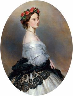 Portrait by Franz Xaver Winterhalter, 1861 - Princess Alice of the United Kingdom (1843 – 1878) was the third child and second daughter of Queen Victoria & Prince Albert of Saxe-Coburg & Gotha. Alice was the first of Queen Victoria's nine children to die, & one of three to be outlived by their mother, who survived until 1901.