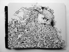 Kerby Rosanes� latest sketchbook drawing of an owl is fantastic! The composition is perfectly laid out on a double page spread, and I like the mix of a serious animal portrait with crazy skulls and creatures. You can view more of his work, here. Artwork � Kerby Rosanes. http://illusion.scene360.com/animals/47362/the-doodle-animal-kingdom/
