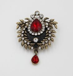 Turkish Jeweled Brooch Teardrop Red