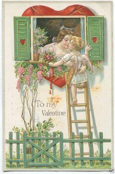 1909 VALENTINES DAY POSTCARD Lady & Cupid At Window TO MY VALENTINE