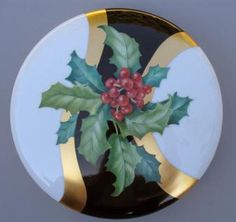 "Original Design by Irene Graham Holly and Berries on 8"" Porcelain box"