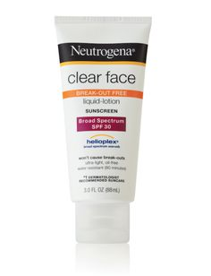 The 12 Best Face Sunscreens: FOR ACNE-PRONE SKIN: This is a solid, water-resistant choice that won't clog your pores and is filled with botanical extracts to remedy breakouts. Neutrogena Clear Face Sunscreen Liquid Lotion Broad Spectrum SPF 30, $9.49; Target.com.