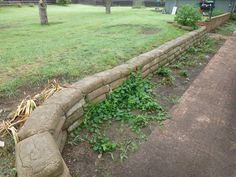 Retaining Wall Using Bags Of Concrete After Wall Is Built