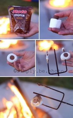 How yummy does this sound?  Take your marshmallow and push a rolo mini in the middle; proceed to toast over fire. Yum