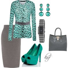 """Teal and gray work outfit"" by kwhitneyf on Polyvore love it!! Minus the earrings though"