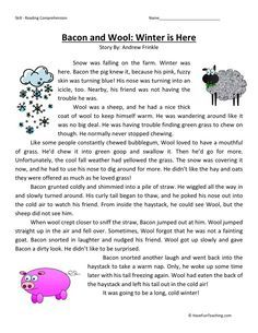 This Reading Comprehension Worksheet - Bacon and Wool: Winter is Here is for teaching reading comprehension. Use this reading comprehension story to teach reading comprehension. Reading Comprehension Worksheets, Comprehension Strategies, Reading Fluency, Reading Passages, Reading Strategies, Reading Skills, Reading Test, Third Grade Reading, Teaching Reading
