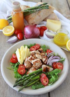 Chicken, Asparagus, Tomato Salad with Meyer Lemon Vinaigrette is not your average salad. Nichole and I are so excited to share a Chicken, Asparagus, Tomato Salad with Meyer Lemon Vinaigrette and a Healthy Salads, Healthy Dinner Recipes, Healthy Eating, Clean Eating, Best Salad Recipes, Chicken Salad Recipes, Healthy Chicken, Chicken Asparagus, Asparagus Salad
