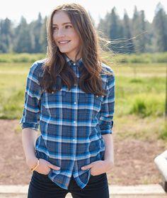 ***Deep blue, size 8 Signature Lightweight Flannel Shirt, Plaid