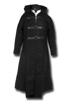 Mantel mit Metallschliessen, schwarz von Leonardo Carbone