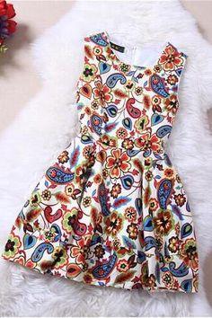 Printed silk dress XQ63050