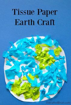 This fun Tissue Paper Earth is the perfect kids craft for Earth Day or for learning about planets. It's an easy craft for toddlers and preschoolers. Save up tissue paper from gifts to make this Earth Day craft for kids! (Perfect way to teach children abou Planets Activities, Earth Day Activities, Space Activities, Craft Activities, Planets Preschool, Earth Craft, Earth Day Crafts, Easy Toddler Crafts, Toddler Art