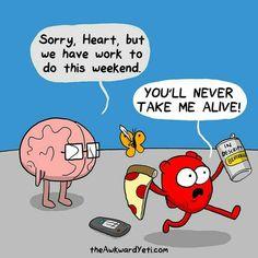 Heart And Brain Comic, The Awkward Yeti, Akward Yeti, Funny Cute, Hilarious, Funny Work, Face Mapping, Work Humor, Funny Comics