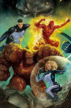 Thing Human Torch Invisible Woman Mister Fantastic and Dr. Doom - Fantastic Four by Mirco Pierfederici Comic Book Characters, Comic Book Heroes, Marvel Characters, Comic Character, Comic Books Art, Comic Art, Nightwing, Batwoman, Fantastic Four Marvel