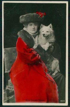 Miss Ellen Terry & Pomeranian Spitz Dog original old c1910s photo postcard