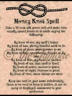 Money knot spell