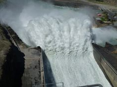 """Clyde Dam Central Otago with flood water """"fishtail"""""""