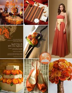 Burnt Orange and Brown with spice cake, roses and chiffon october wedding colors schemes / fall wedding ideas colors october / fall wedding ideas november / fall winter wedding / fall colors for wedding Orange Wedding Colors, Fall Wedding Colors, Wedding Color Schemes, Orange Weddings, Autumn Weddings, Wedding Flowers, Burnt Orange Bridesmaid Dresses, Boho Bridesmaids, Harvest Party