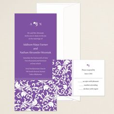 Devine Damask Wedding Invitation (available in other colors) | #exclusivelyweddings | #purplewedding