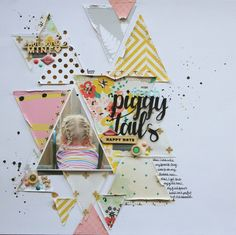 #papercrafting #scrapbook #layout - Piggy Tails by dctuckwell at @studio_calico