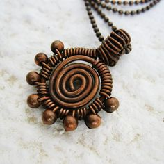 Antiqued Copper Wire Wrapped Swirl Pendant by BearRunOriginals