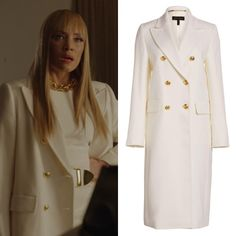 Dynasty Closet is dedicated to finding the clothes, jewelry, accessories & shoes worn on The CW's. Dominique Deveraux, Dynasty Clothing, Silk Crepe, Pretty Little Liars, Get The Look, Double Breasted, Chef Jackets, Celebrity Style, Fancy