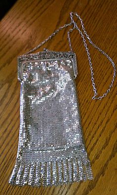 "WHITING AND DAVIS VINTAGE SILVER MESH 10"" LONG PURSE"