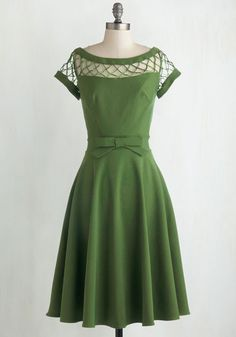 With Only a Wink Dress in Peridot - Green, Solid, Cutout, A-line, Cap Sleeves, Wedding, Party, Vintage Inspired, 50s, Fit & Flare, Sheer, Pinup, Bridesmaid, Bows, Cocktail, Prom, Short Sleeves, Best Seller, Full-Size Run, Long, Top Rated