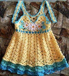 Beautiful crocheted dress for festival Crochet Dress Girl, Crochet Baby Dress Pattern, Baby Dress Patterns, Baby Girl Crochet, Crochet Baby Clothes, Crochet Jacket, Baby Dress Tutorials, Sundress Pattern, Crochet Toddler