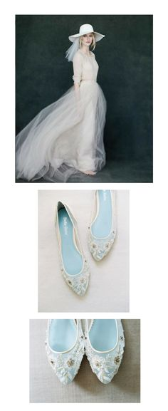"""Elizabeth Messina's capture of this ethereal Samuelle Couture's tulle wedding dress made us weak at the knee. As a nod to the beach hat, we present to you shoes to finish off the destination wedding vibe. Bella Belle's delicate beaded flats, aptly named """"Adora"""",  plays up the dreamy sheerness of the tulle dress, while its hand-beaded details is juxtaposed against the minimalism of the dress. When was the last time we see flats that are as dressy and delicate rolled into one package like…"""